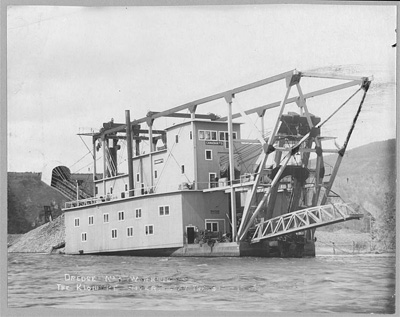 Gold Dredge, Klondike River, Canada, 1915
